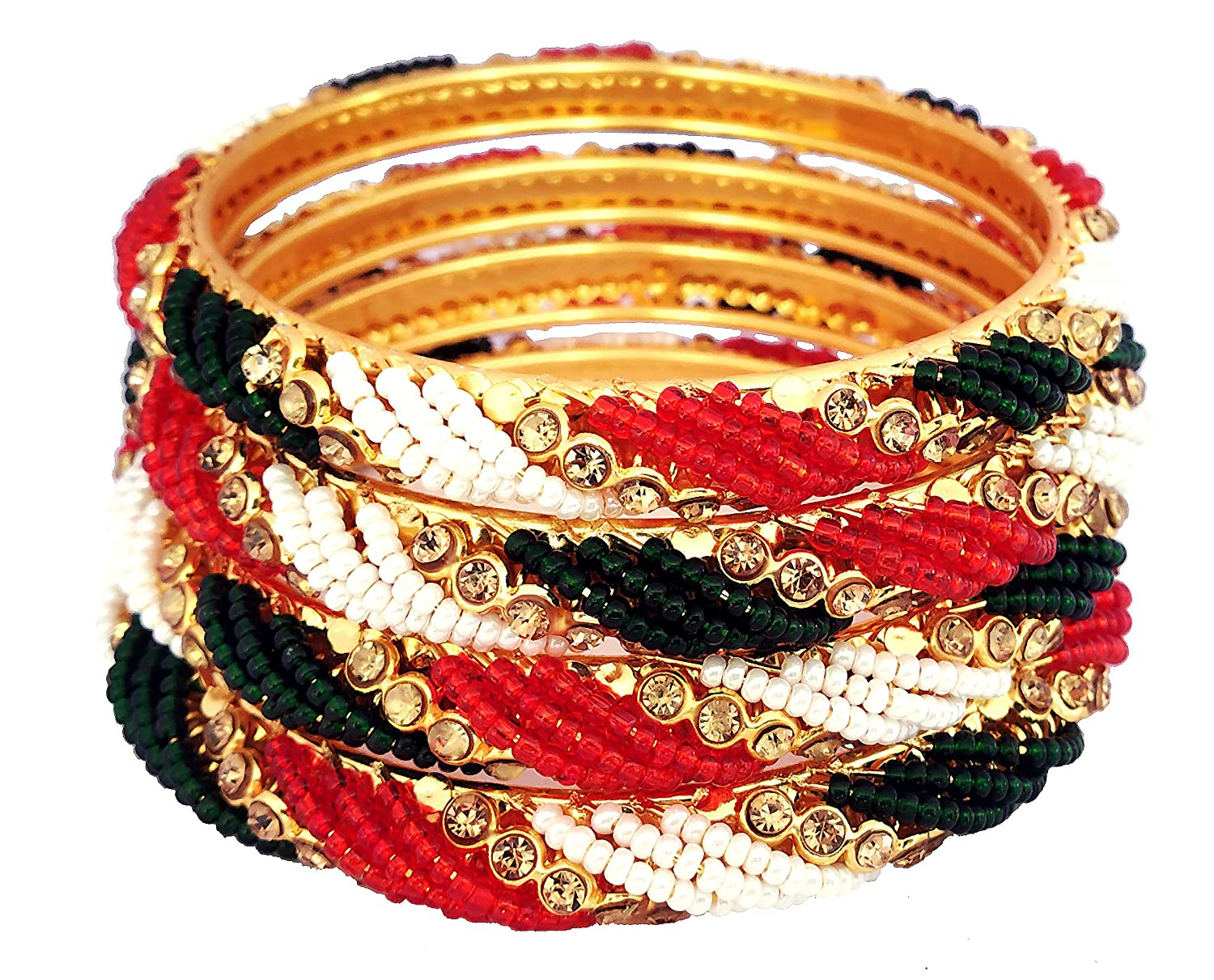 Red, 2.6 MUCH-MORE Exclusive Ethnic Collection Made Fashion Latkan Bangles for Women /& Girls