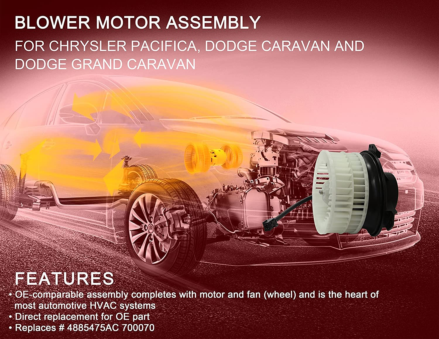 G002b Front Blower Motor Assembly For 04 08 Chrysler Pacifica Heater Fan Wiring Diagram 01 07 Town Country Dodge Caravan Grand Caravanreplaces 4885475ac