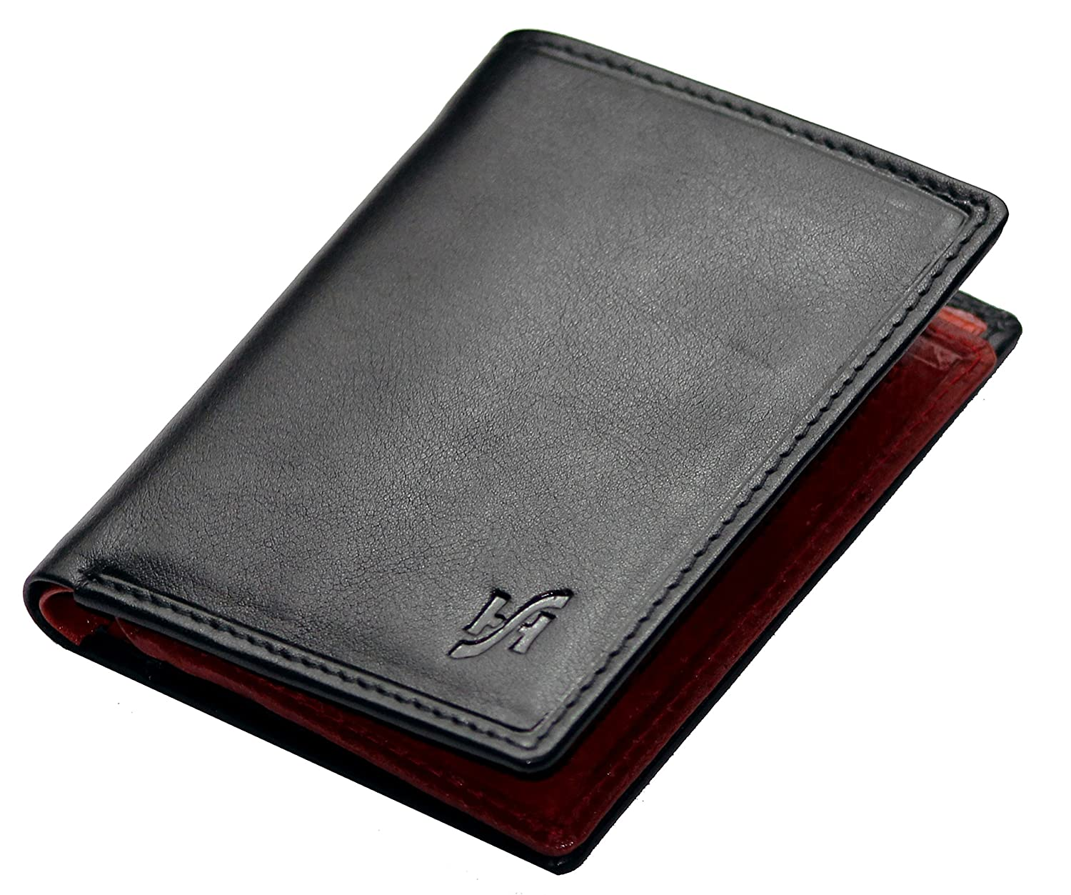 Starhide Small RFID Blocking Mens Black Red Real Leather Compact Wallet 815