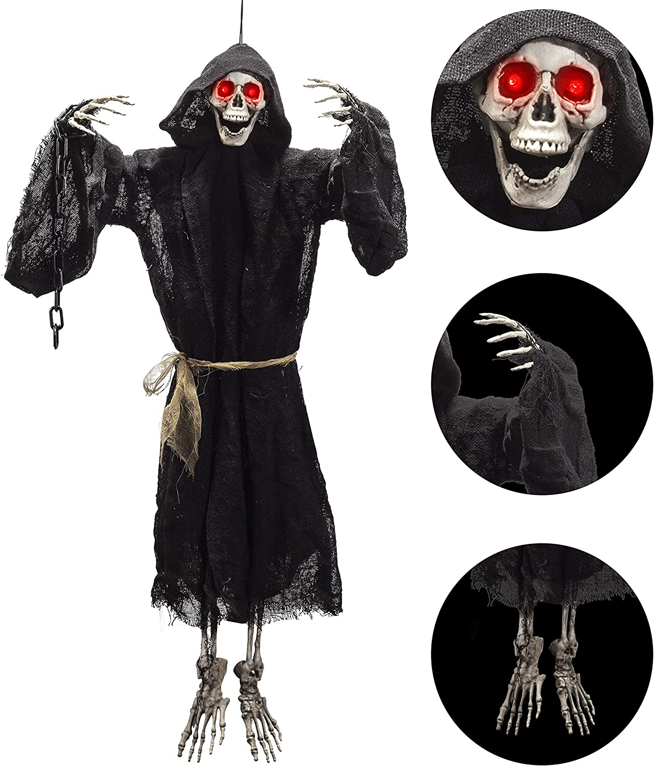 "29.5"" Hanging Halloween Decoration Grim Reaper with Red LED Eyes, Lighted Halloween Hanging Ghost Monk Decoration for Indoor and Outdoor Decor"