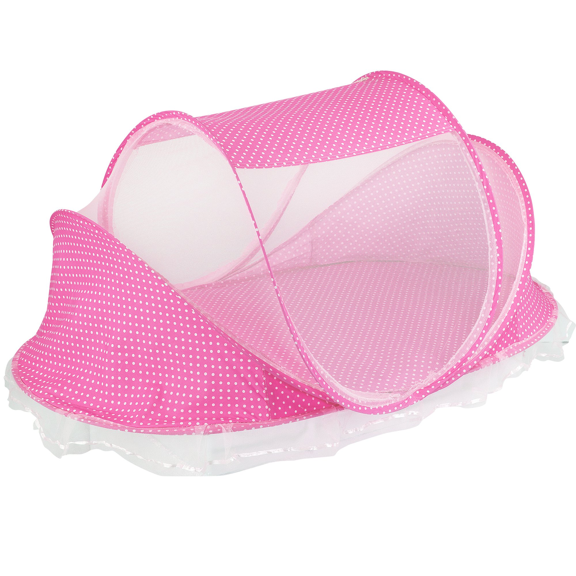 N.C. Products Baby Travel Bed, Portable Travel Beach Tent, Pink Pop-Up Beach Tent Protect from Sun, Mosquitos & Bugs by N.C. Products