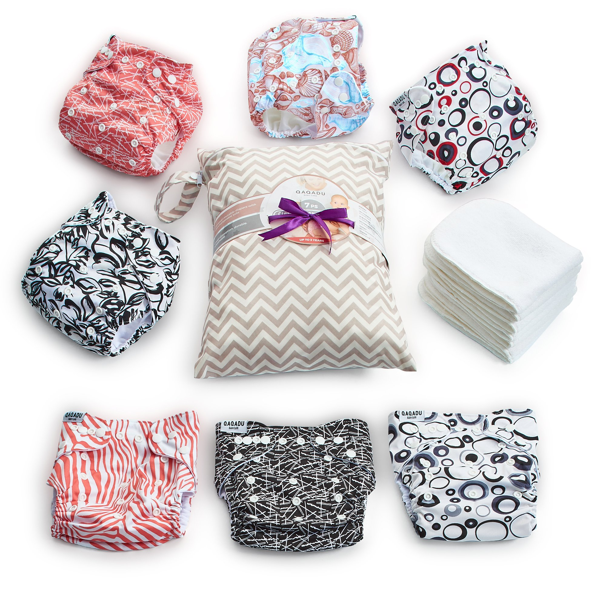 Cloth Diapers - 15 pcs Set of 7 Baby Cloth Diaper Covers, 7 Reusable Diaper Inserts Liners, 1 Waterproof Carry Bag - All in One Pack - Unisex Pocket Design for Boys & Girls - Great for Baby Shower