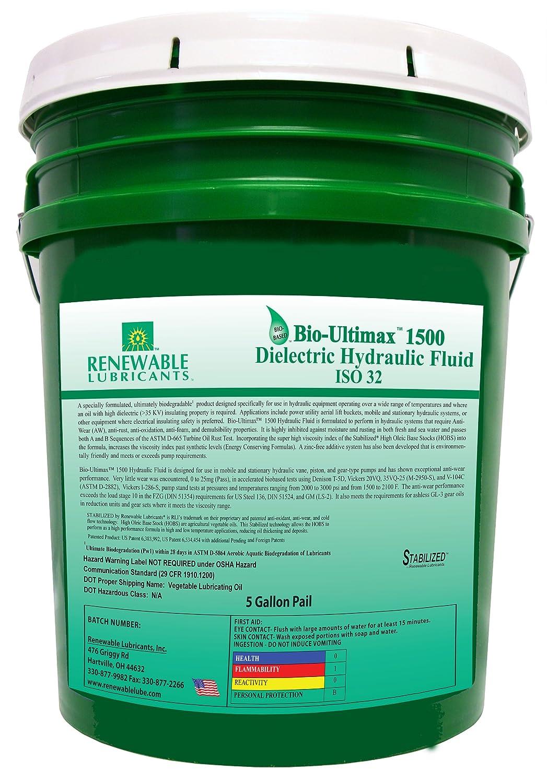Renewable Lubricants Bio-Ultimax 1500 ISO 32 Dielectric Hydraulic Fluid, 5 Gallon Pail Renewable Lubricants Inc. 81054