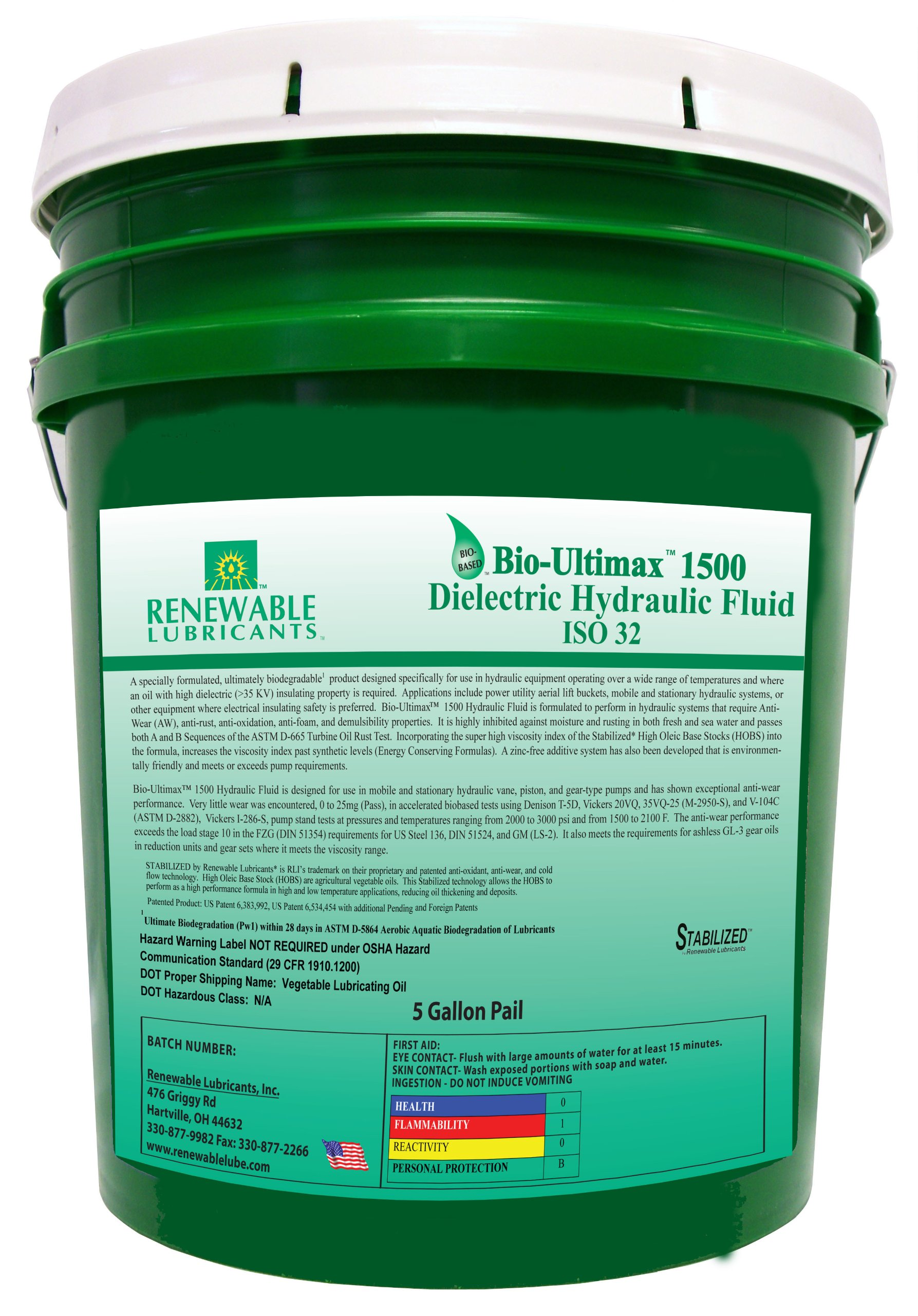 Renewable Lubricants Bio-Ultimax 1500 ISO 32 Dielectric Hydraulic Fluid, 5 Gallon Pail by Renewable Lubricants