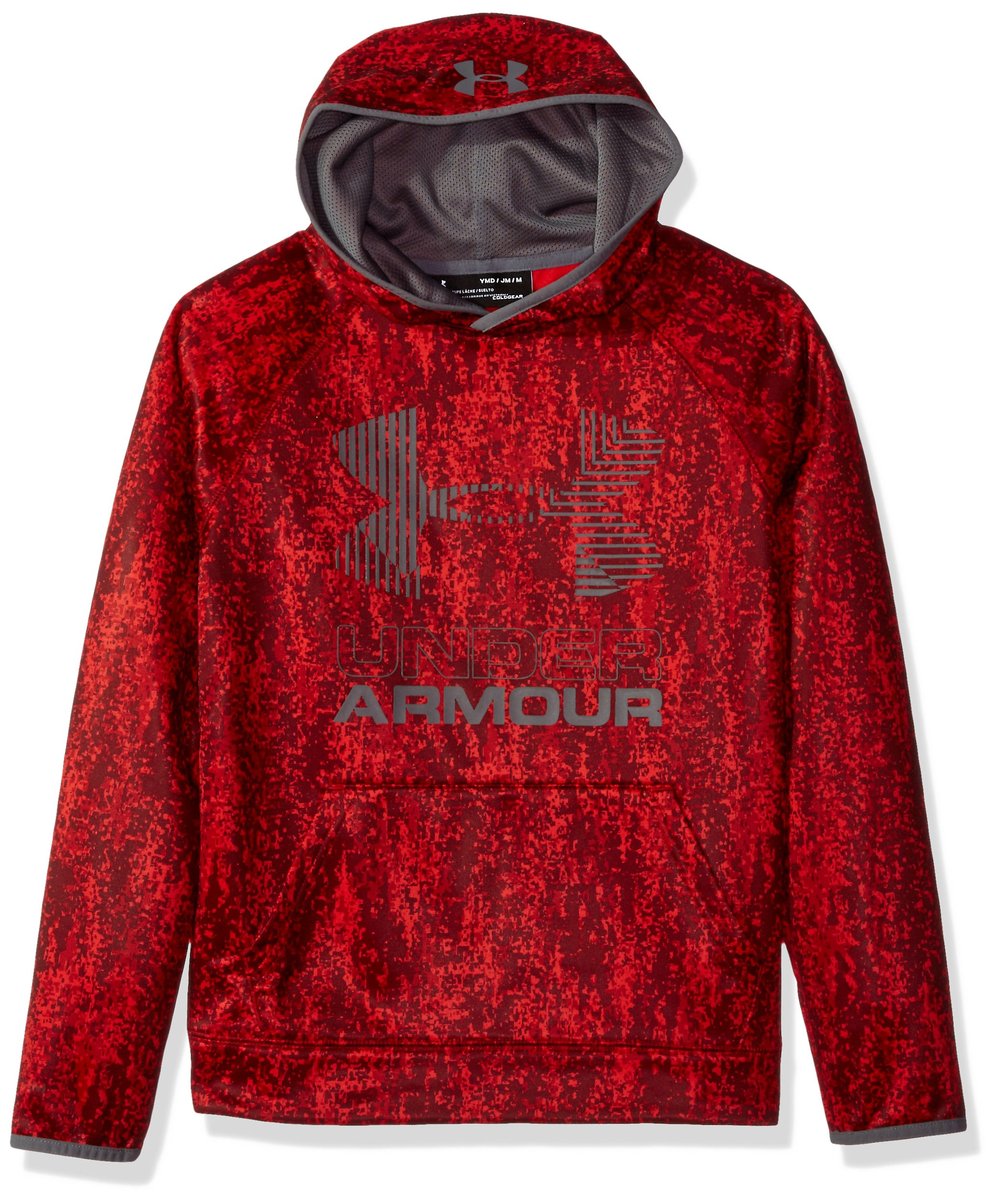 Under Armour Boys' Armour Fleece Printed Big Logo Hoodie, Red /Graphite, Youth Small