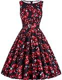Yafex Damen 50er Jahre Kleid Vintage Kleid Petticoat Kleid ZYB000002