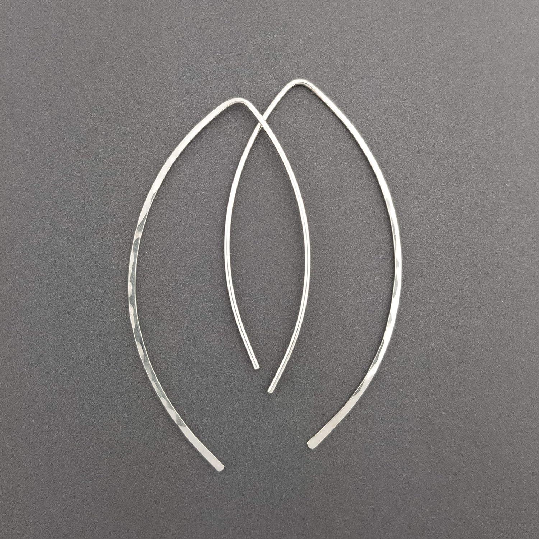 2' Thin Sterling Silver Hammered Threader Earrings Open Hoop 20 Gauge (.8mm)