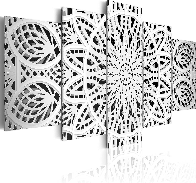 murando - Cuadro 200x100 cm - Mandala Impresión de 5 Piezas Material Tejido no Tejido Impresión Artística Imagen Gráfica Decoracion de Pared - Abstracto f-A-0581-b-n Oriente Ornamento