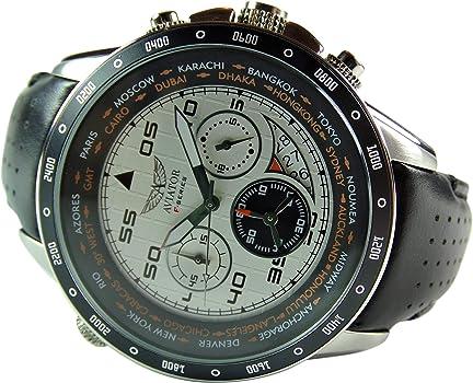 606dbbd7b Amazon.com: AVIATOR Chronograph Wrist Watch – Aviators Watch for Men ...