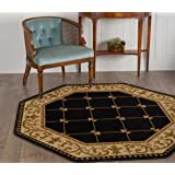 Universal Rugs Traditional Border 5 Ft. 3 In. Octagon Area Rug , Black