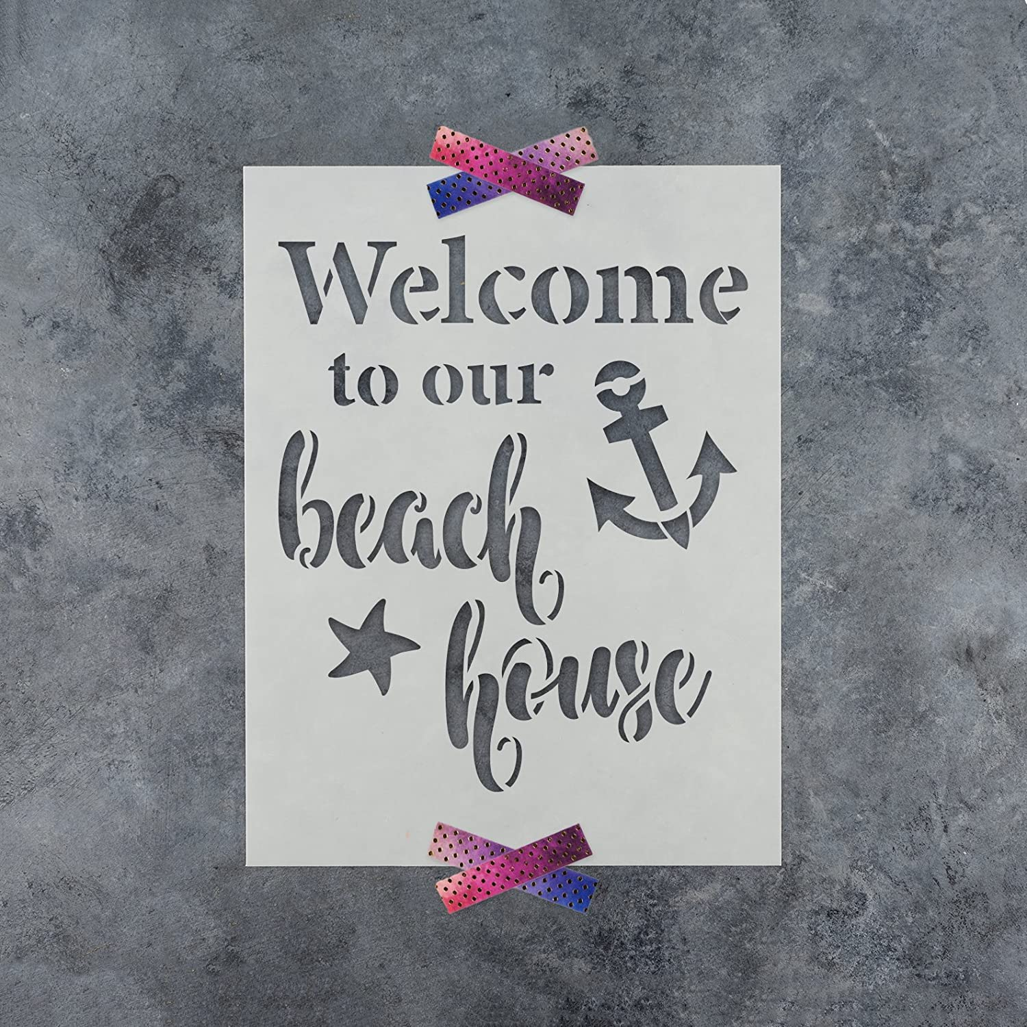 Reusable Stencils for Painting in Small /& Large Sizes Welcome to Our Beach House Stencil Template for Walls and Crafts