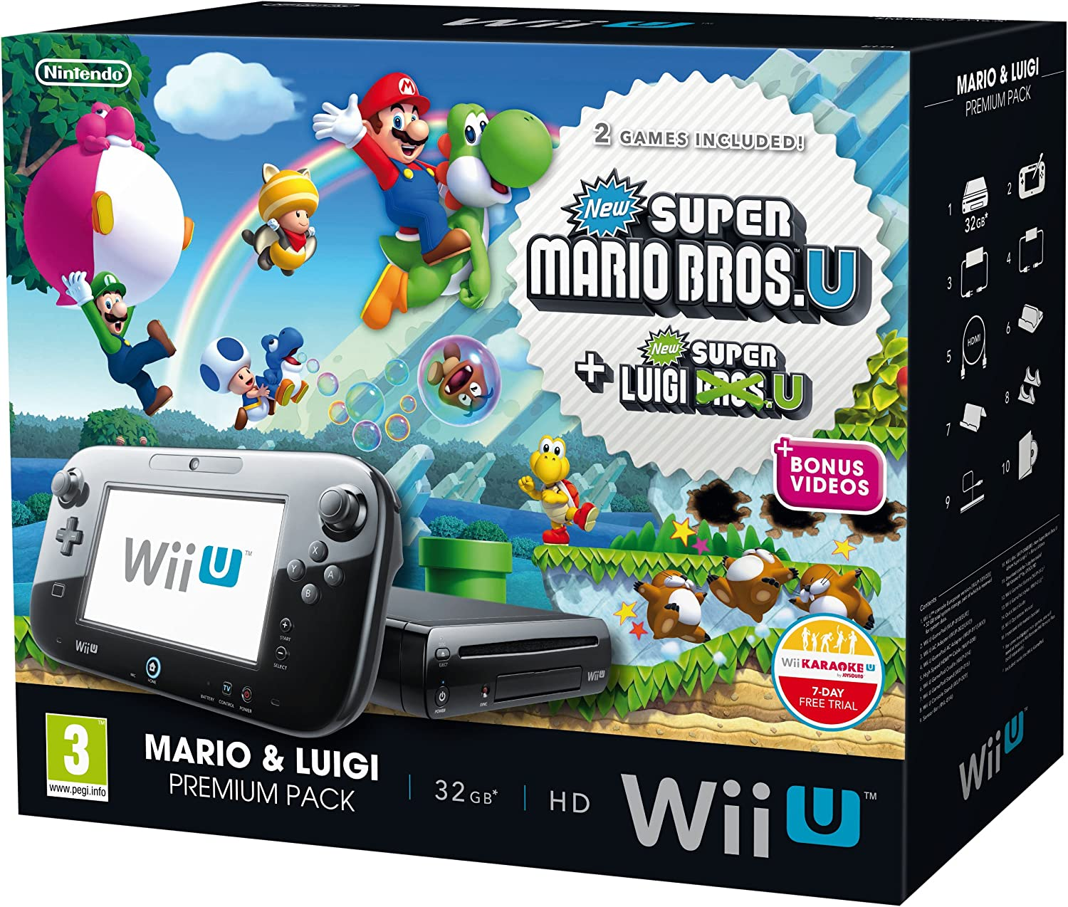 Nintendo Wii U 32Gb New Super Mario Bros And New Super Luigi Bros Premium Pack - Black (Nintendo Wii U) [Importación Inglesa]: Amazon.es: Videojuegos