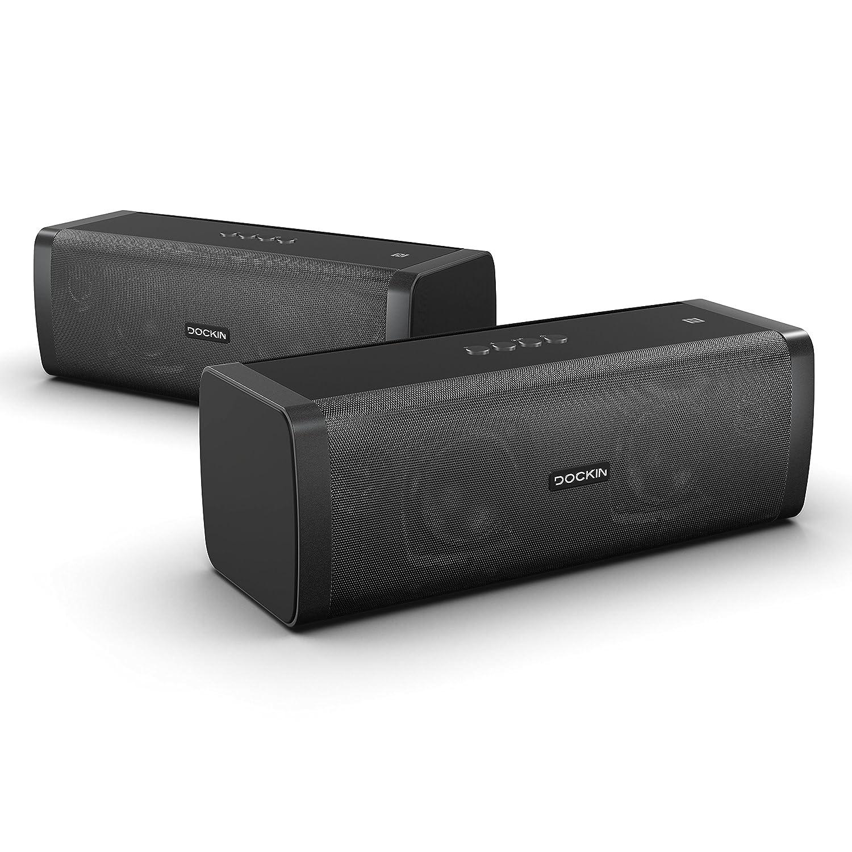 DOCKIN D Fine+ Stereo Link Paquete Altavoz Bluetooth Hi-Fi de 50 vatios - Doble función de Pareja, batería de Gran Alcance de hasta 14 Horas excelente ...