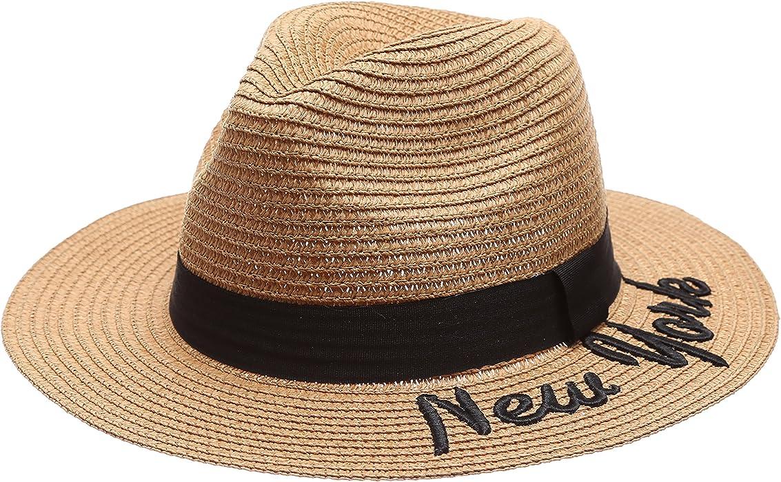 ef649bc1 Summer Panama Straw Embroidered New York Quote Wide Brim Sun Beach Hat (Brown)