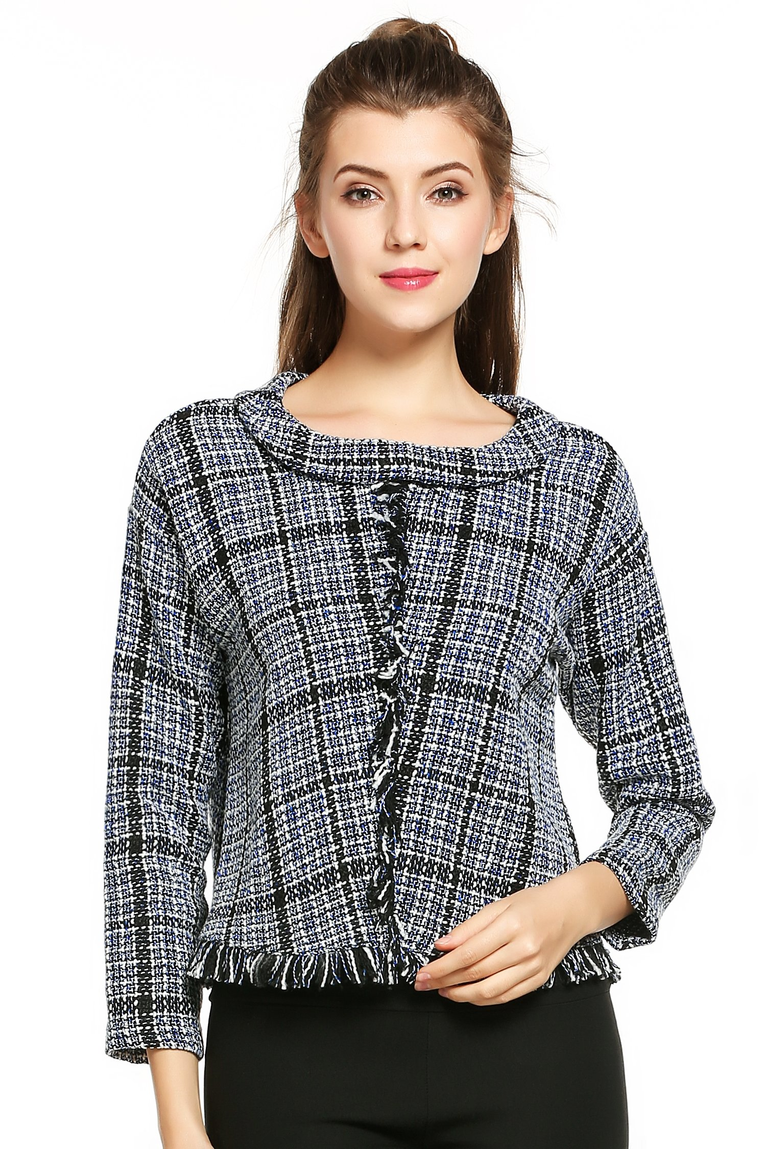 HOTOUCH Women's Roll Neck Drop-Shoulder Plaid Tassel Tweed Top Blue S