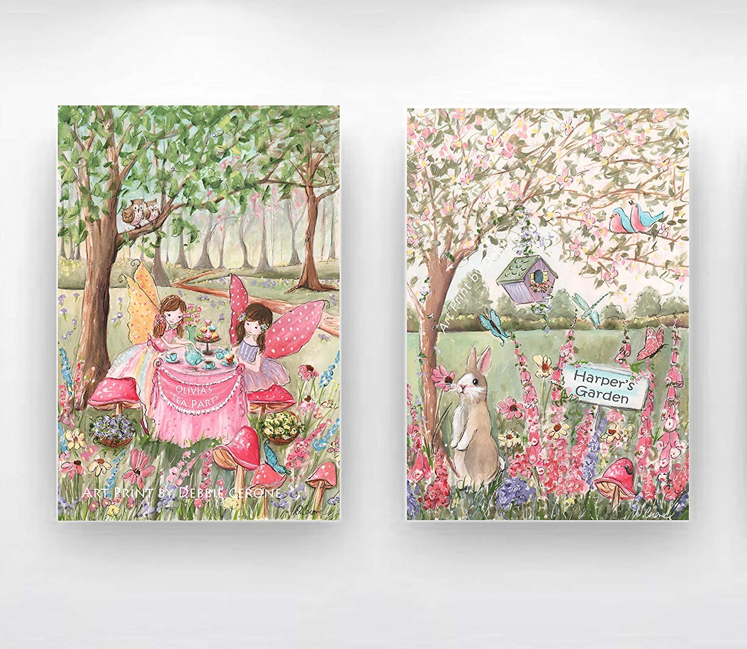 Image of Home and Kitchen Personalized Girls Fairy, Set Of 2 Wrapped Canvases, Ready To Hang, Girls Having Tea Party, Custom Girl's Name & Hair Color, Enchanted Forest