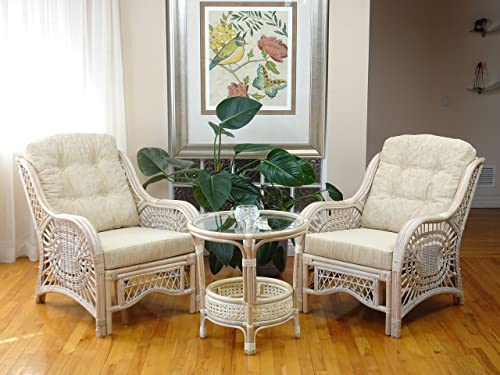Malibu Rattan Wicker Living Room Set 3 Pieces White Wash Coffee Table 2 Lounge Chairs w cream cushions