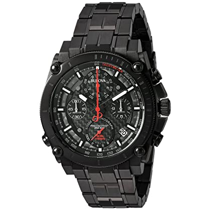 Bulova Men's 'Precisionist' Quartz Stainless Steel Watch, Color:Black (Model: 98B257)