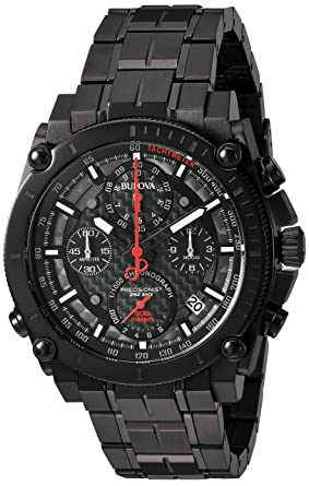 Bulova Mens Precisionist Quartz Stainless Steel Watch, Color:Black (Model: