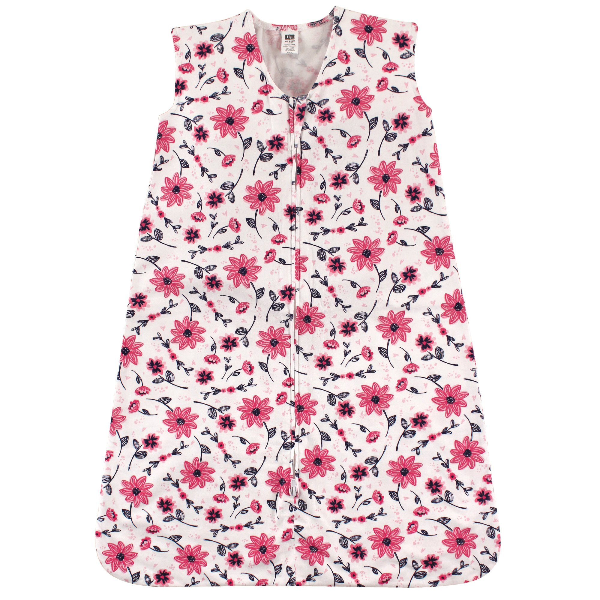 Hudson Baby Wearable Safe Soft Jersey Cotton Sleeping Bag, Pink Flowers, 18-24 Months by Hudson Baby