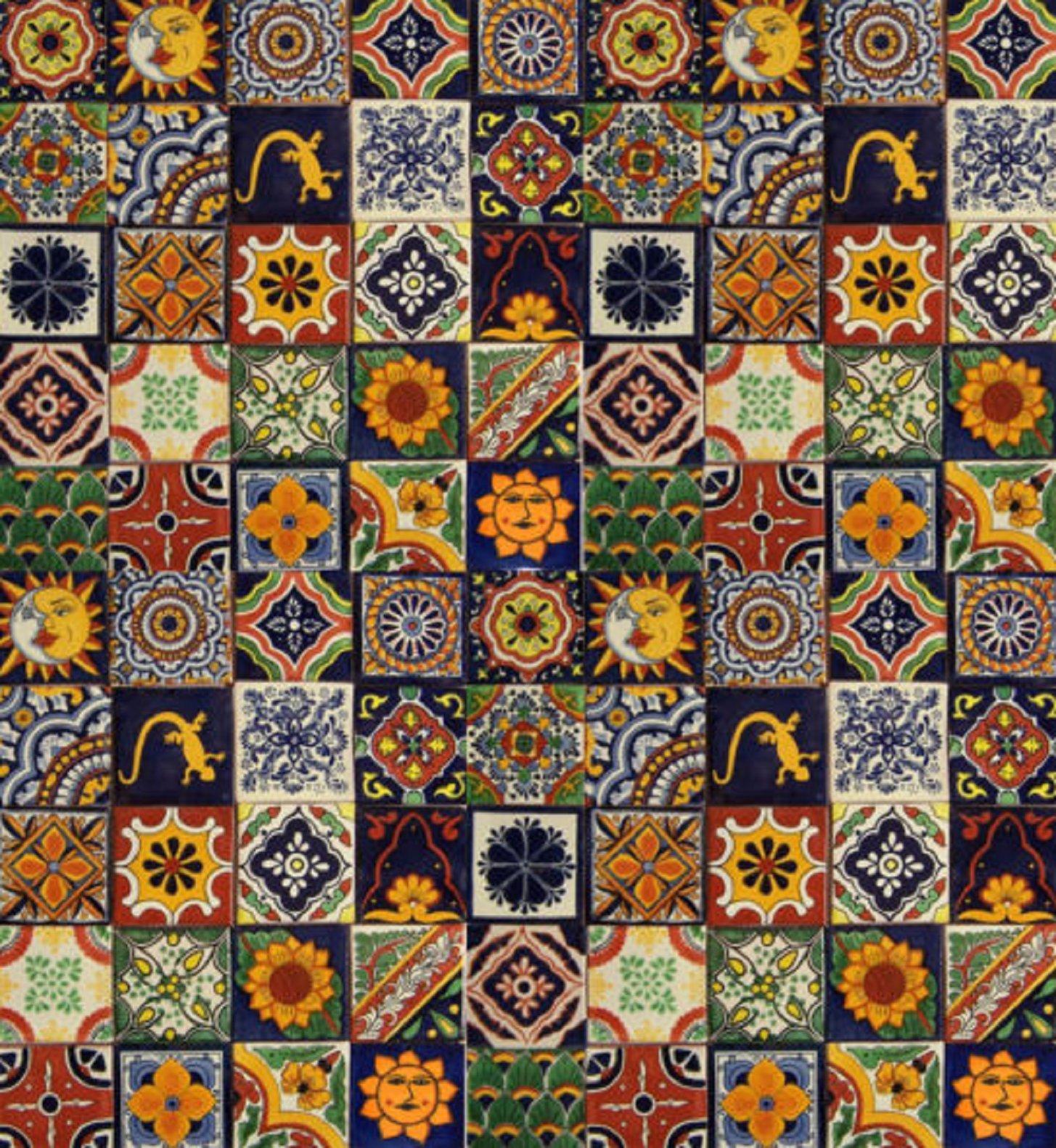 USA Premium Store 100 Mexican Talavera Ceramic Tiles 4'' MIXED by USA Premium Store