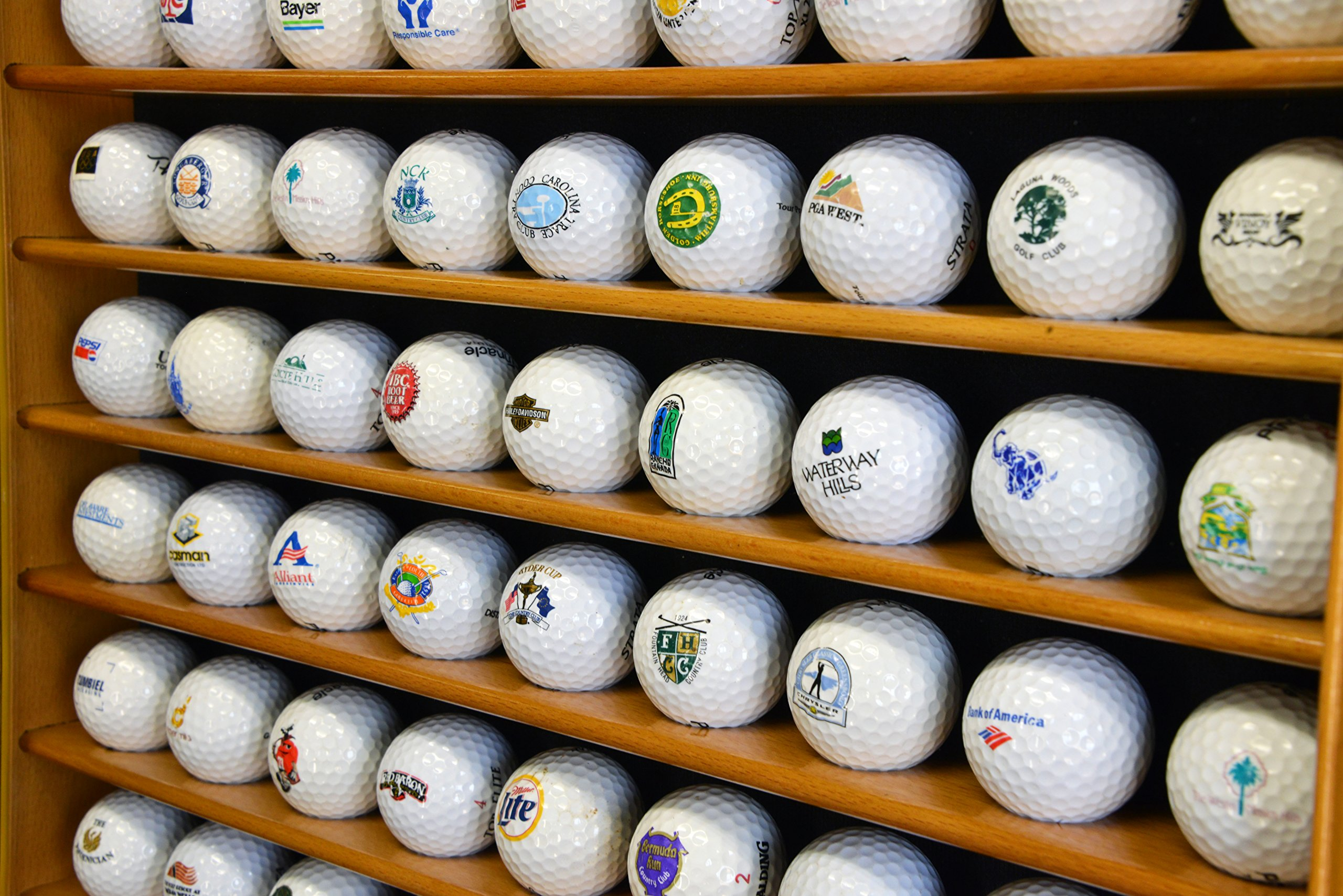 70 Golf Ball Display Case Cabinet Holder Wall Rack w/ UV Protection -Oak by sfDisplay (Image #4)