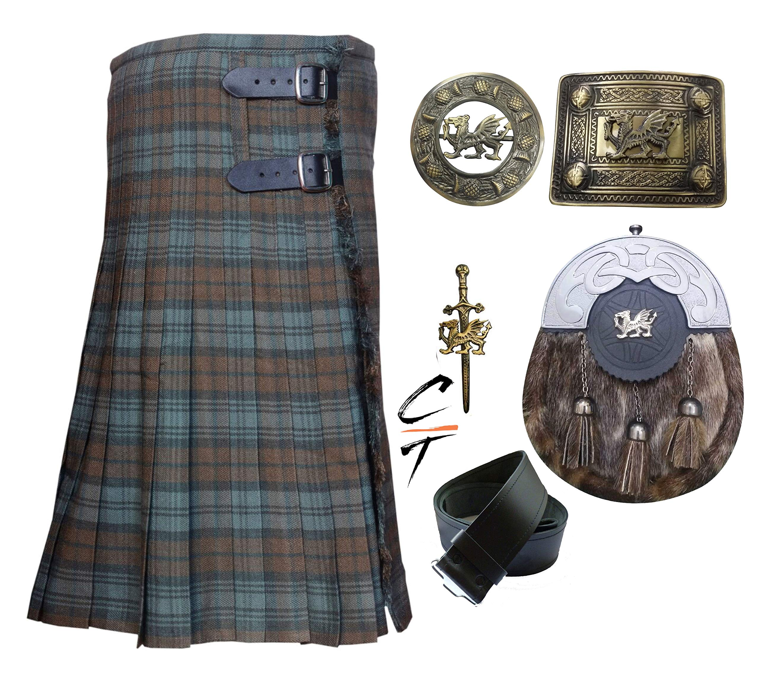 CT Men's Scottish 8 Yards 16oz Kilt Weathered Black Watch Tartan Acrylic Wool Kilts Outfit Set 6 Pieces (46)