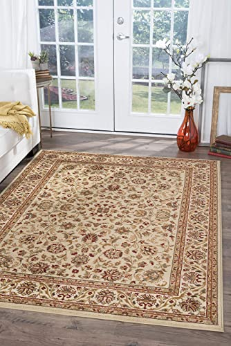 Ventura Traditional Border Ivory Rectangle Area Rug, 10.6 x 14.6