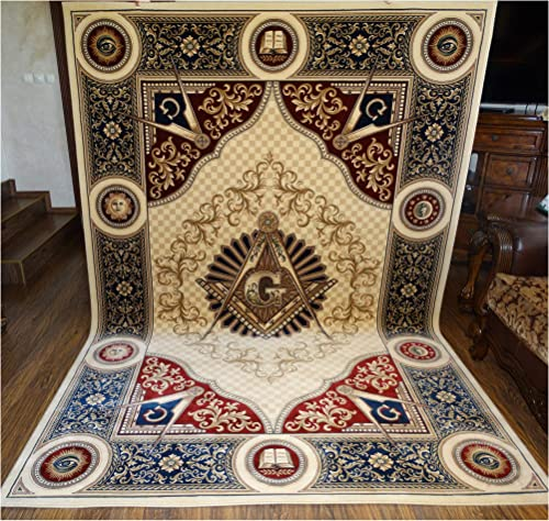 Masonic Area Rug 6 6 x9 6 Carpet Apron Lodge Bible Freemason Mason Ring Templar 6 6 x 9 6