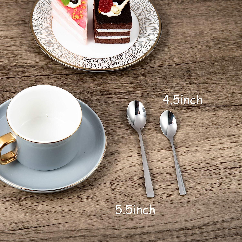 14 cm Blau 18//10 Mini Kaffeel/öffel Edelstahl Teel/öffel Set von 6 St/ück Bisda Demitasse Espressol/öffel