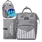 Diaper Bag Backpack - Large Waterproof Unisex Baby Diaper Backpack - Nappy Stylish Bags for Mom Dad Women Boys and Girls - with Stroller Straps