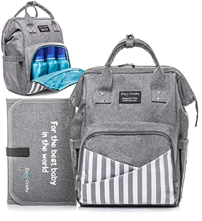 1ec319de045 Amazon.com   Diaper Bag Backpack - Large Waterproof Unisex Baby Diaper  Backpack - Nappy Stylish Bags for Mom Dad Women Boys and Girls - with  Stroller Straps ...