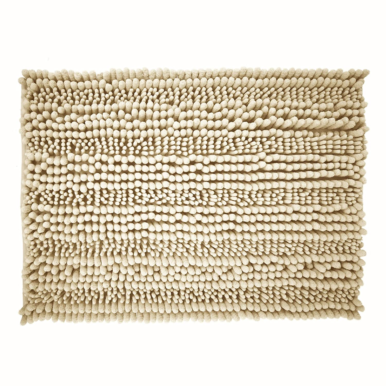 Beige Polyte Premium Microfiber Shaggy Chenille Bath Mat Set of 2 20 x 32 in // 17 x 24 in