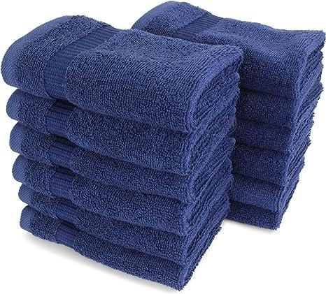 Amazon Com Salbakos Luxury Hotel Spa Turkish Cotton 12 Piece Washcloth Set For Bath Shower Toallas De Baño 13 X 13 Inch Navy Kitchen Dining