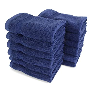 SALBAKOS Luxury Hotel & Spa Turkish Cotton 12-Piece Eco-Friendly Washcloth Set Bath, 13 x 13 Inch, Navy