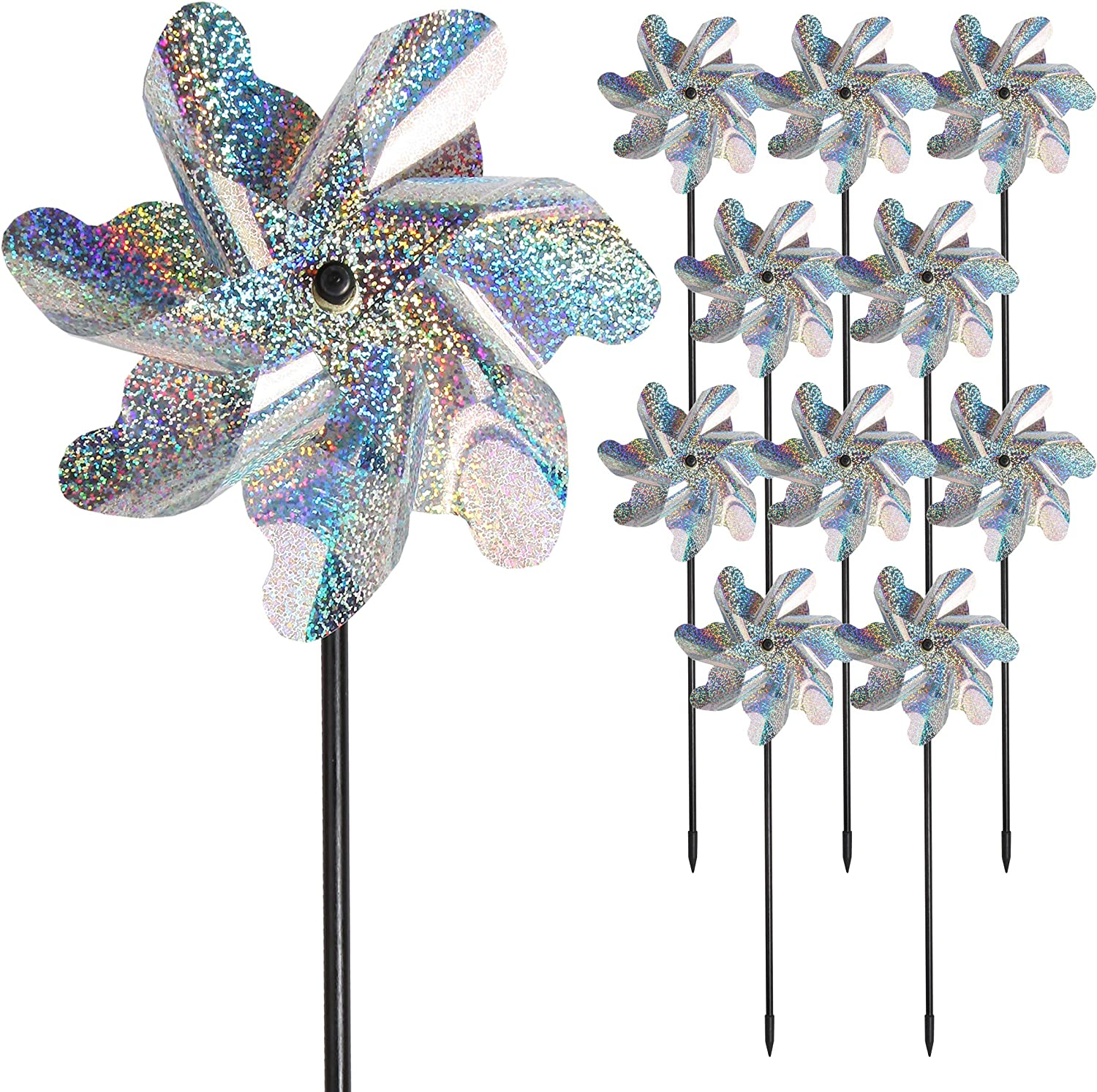 Bird Blinder Repellent Pinwheels, Effectively Keep Birds Away - Holographic Pin Wheels for Yard and Garden 15 inch Pinwheel Bird Deterrent, 10 Pack Garden Spinners, Great Geese Deterrent Product