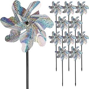 Bird Blinder Repellent Pinwheels, Effectively Keep Birds Away - Holographic Pin Wheels for Yard and Garden 15 inch Pinwheel Bird Deterrent, 10 Pack Garden Spinners, Great Geese Deterrent Product