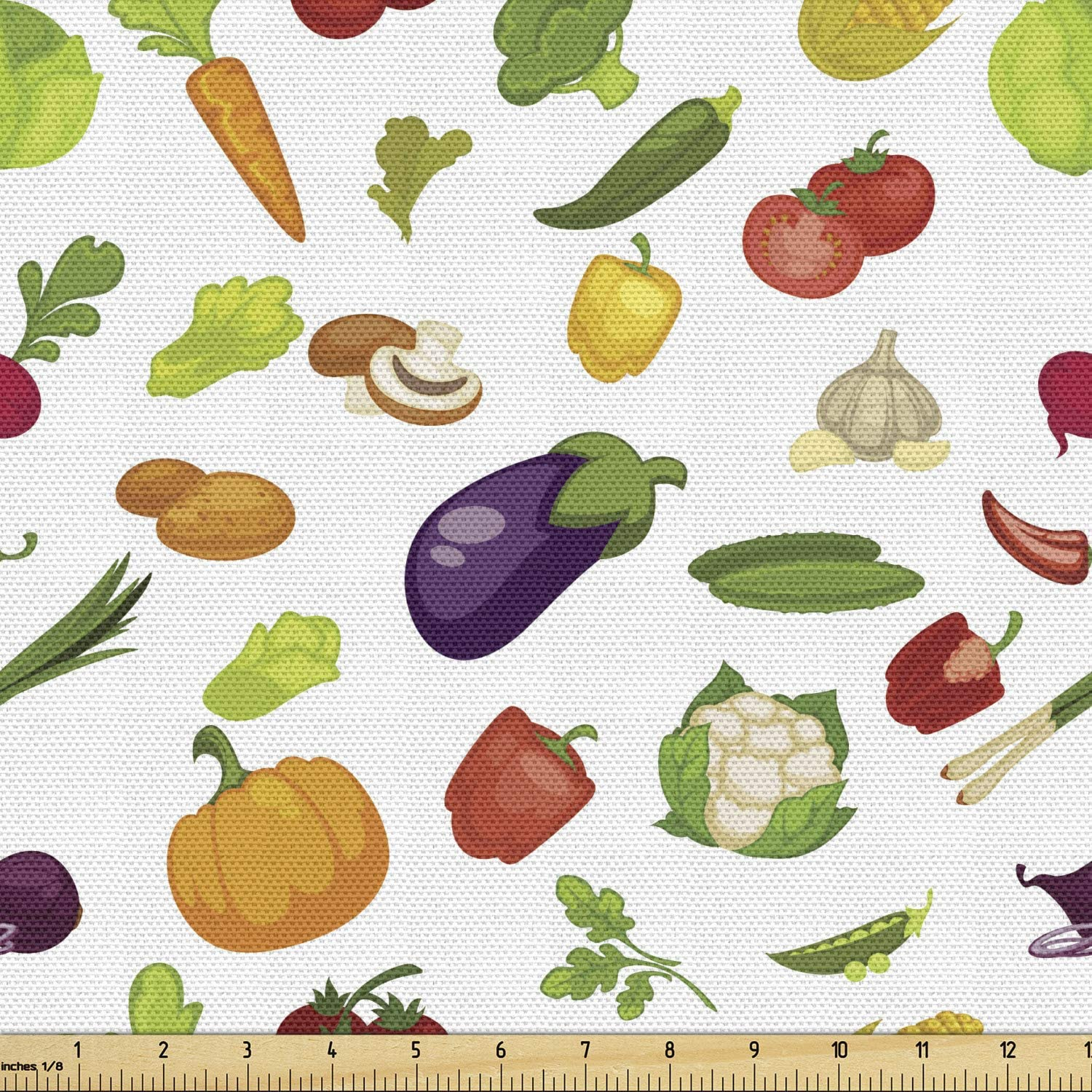 Ambesonne Fruits and Vegetables Fabric by The Yard, Pattern of Scattered Organic Food Products on a Plain Background, Decorative Fabric for Upholstery and Home Accents, 1 Yard, White Green
