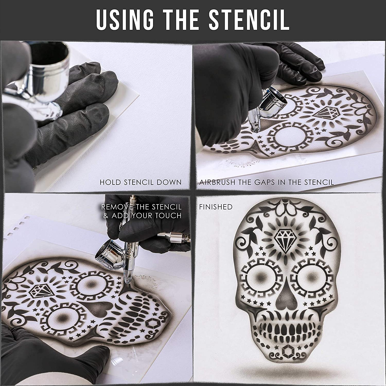 Laser Cut Reusable Templates Skull Design #13 in 3 Scale Sizes Custom Shop Airbrush Sugar Skull Day of The Dead Stencil Set