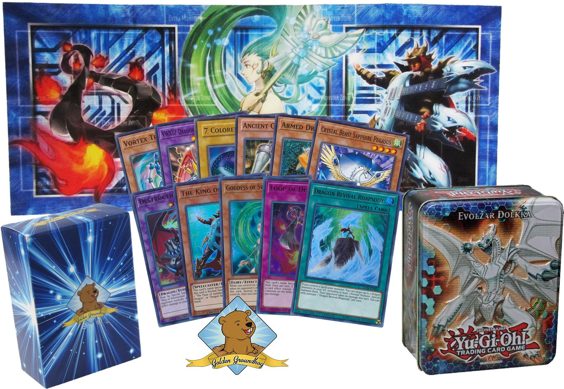 100 Yugioh Card Lot - Featuring All 5 Legendary Collection: Kaiba Holo Promos! with Yugioh Collector's Playmat! Comes in Tin! Golden Groundhog Deck Box!