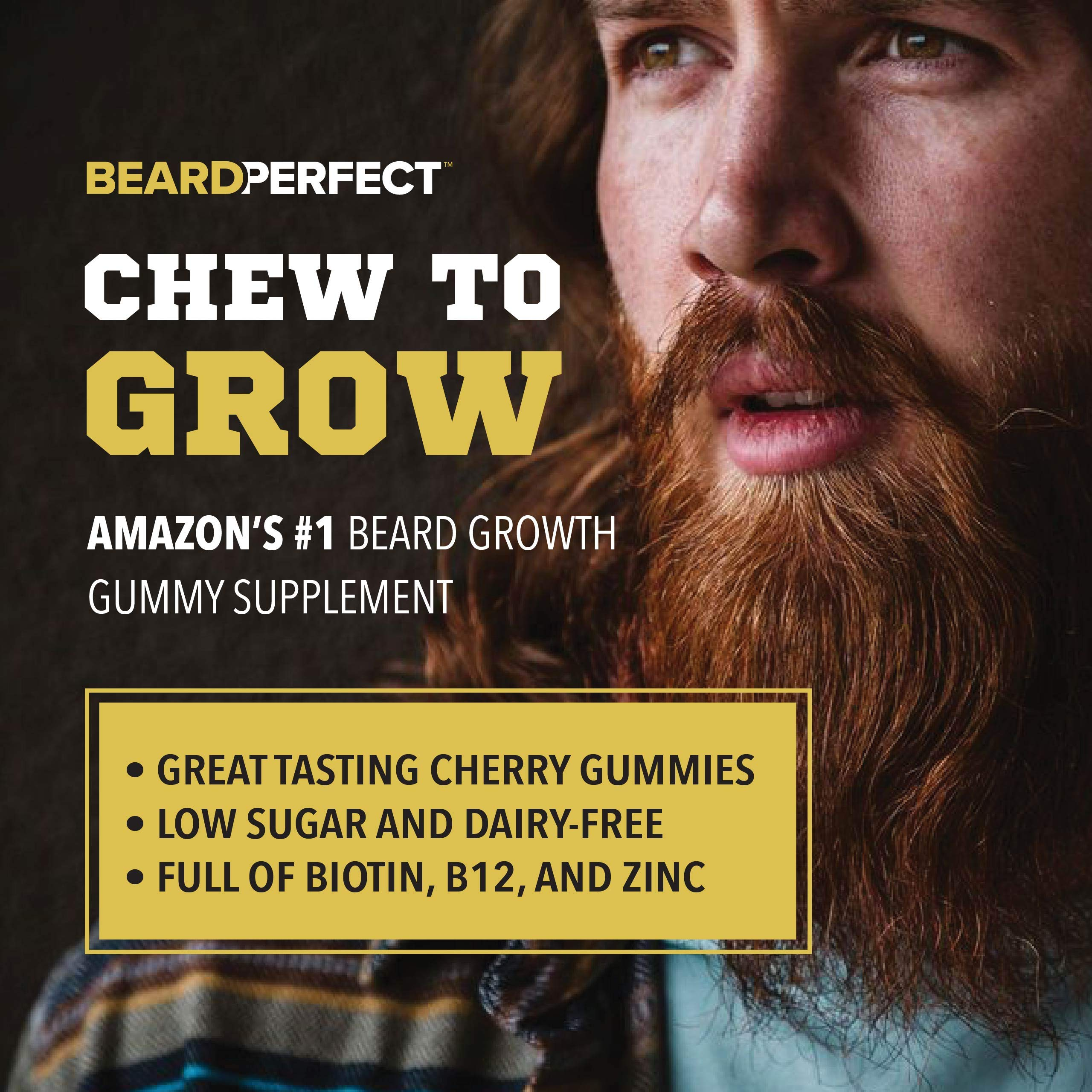THICKGROW BIGBEARD Gummies - Get a Stronger, Longer, Thicker Beard - Beard Growth Formula for Men - with Biotin, B12, and 10+ Elite Beard-Building Vitamins and Nutrients - 60 Cherry Flavored Gummies! by BeardPerfect