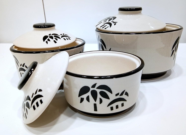 Buy Big Nest Handcrafted Glazed Ceramic Serving Bowl Set 3 Pieces