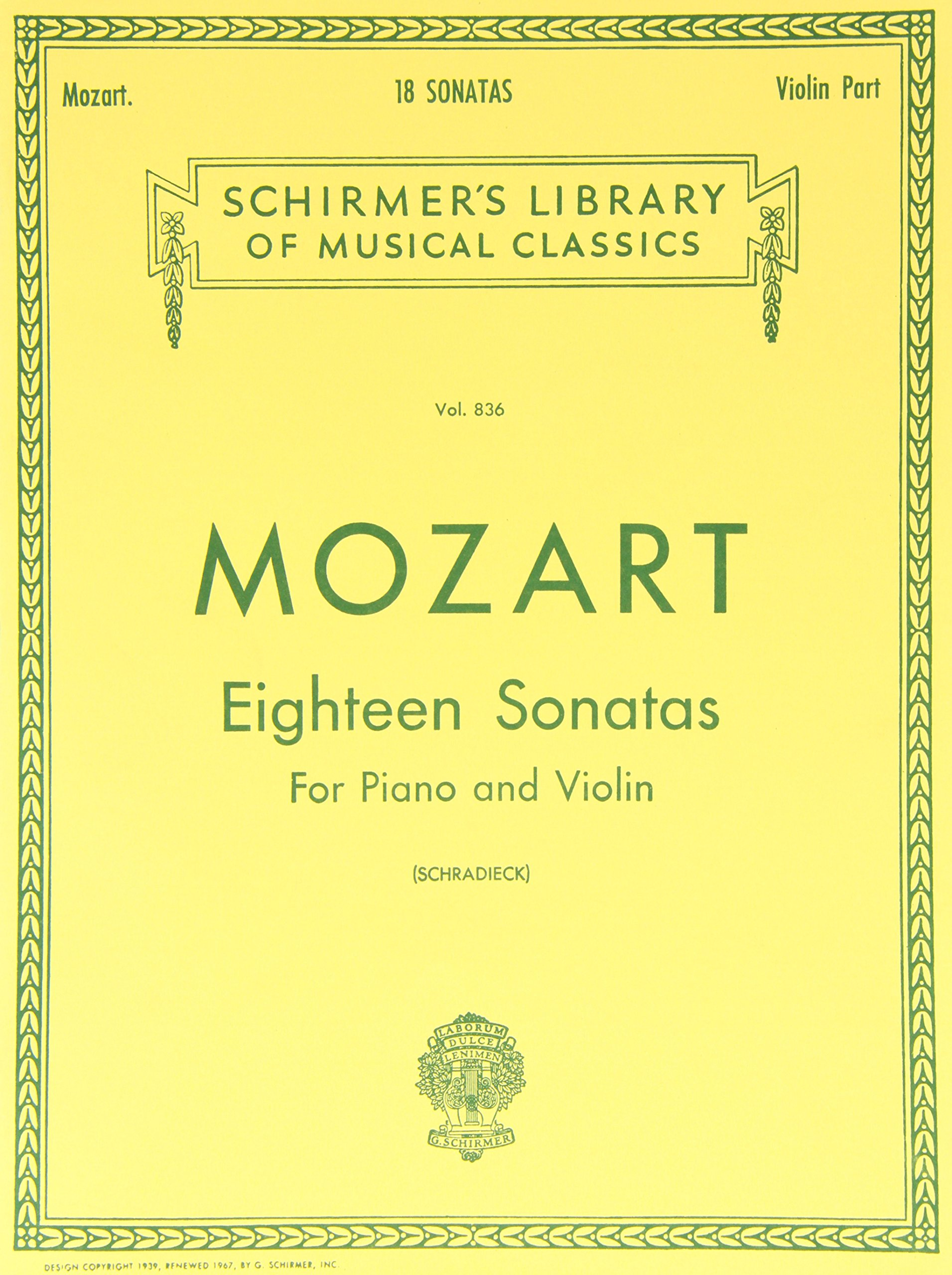 Mozart: Eighteen Sonatas For Piano and Violin (Schirmer's Library of Musical  Classics, Vol. 836) Paperback – November 1, 1986