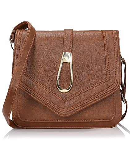 1e6bbd0b69 Kleio Stylish Trendy Pu Leather Sling Bags For Women And Girls - Brown  (Edk1031Kl-