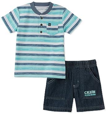 c10e8edde Amazon.com: Calvin Klein Baby Boys 2 Pieces Bodysuit Shorts Set ...