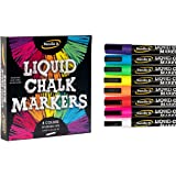 Liquid Chalk Markers - 8 Vibrant colors, erasable, non-toxic, water-based, reversible tips, bright colors for kids…