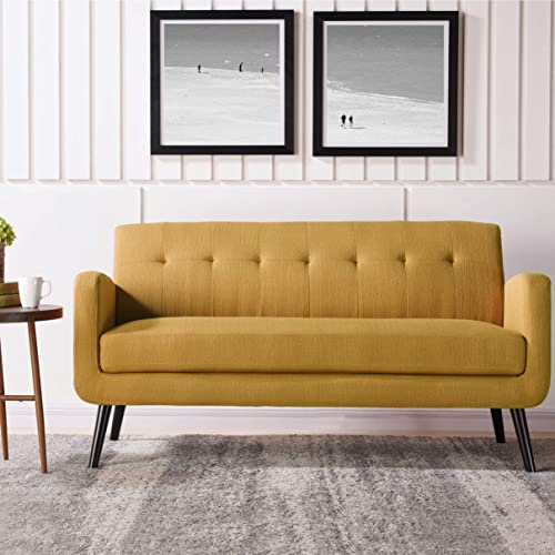 Mustard Yellow Mid-Century Modern Sofa Solid Traditional Transitional Linen Polyester