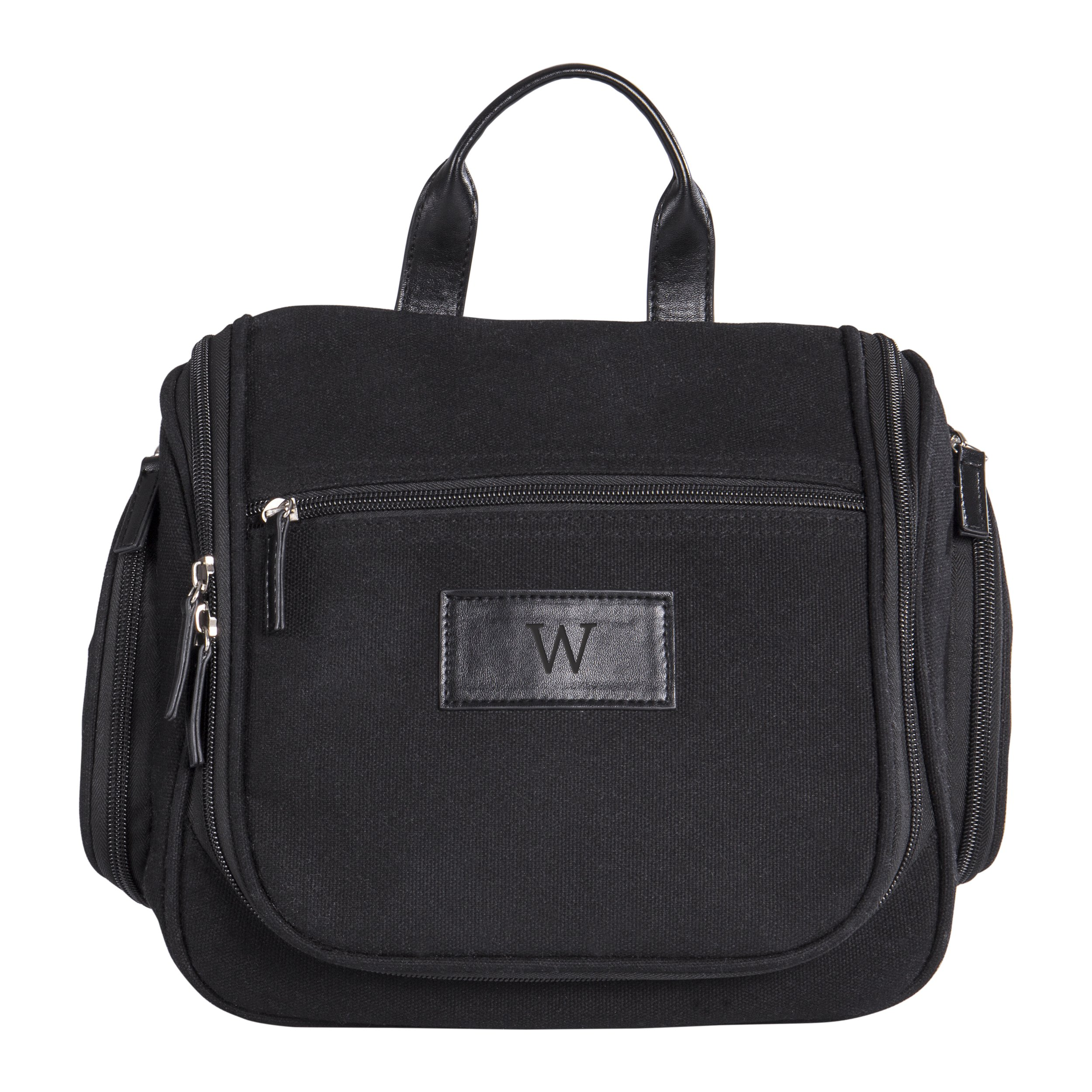 Cathy's Concepts Personalized Men's Waxed Canvas and Leather Hanging Toiletry Bag