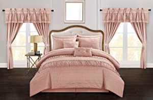 Chic Home Mykonos 20 Piece Comforter Set Striped Ruched Ruffled Embossed Bag Bedding, Queen Coral