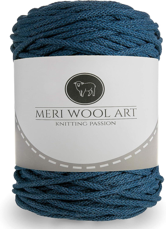 50m Baumwolle Seil Asche, 50 Meter Ablagek/örbe und Baumwolle Stricken MeriWoolArt Makramee Makramee Garn 6mm Quasten Kisen Kordel f/ür Tepisch 100m